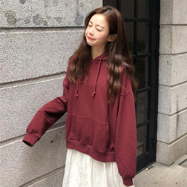SOLID COLORS OVERSIZED LONG SLEEVE HOODED SWEATSHIRT
