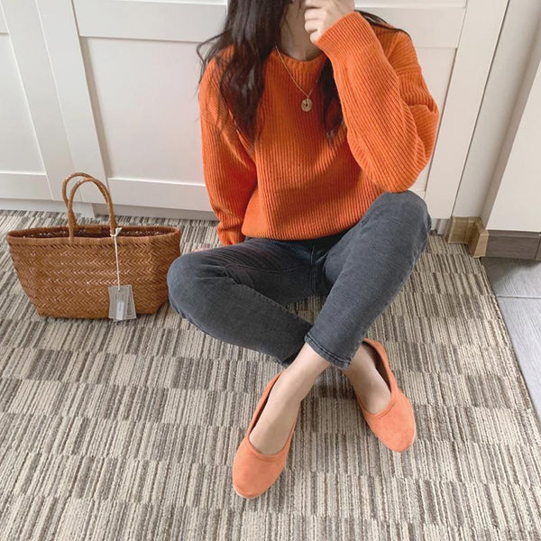 SOLID COLORS RIBBED KNIT CUTE ROUND NECK SWEATER