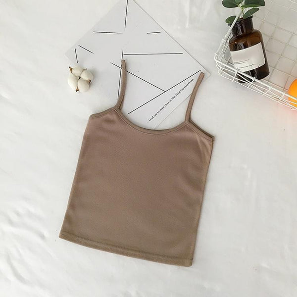 SOLID COLORS RIBBED STRAPS SUMMER TOP