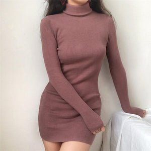 SOLID COLORS RIBBED TURTLE NECK SLIM DRESS