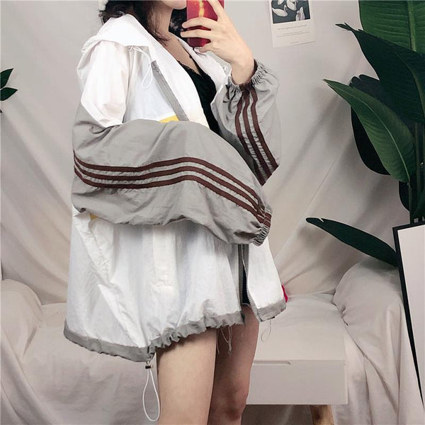 SPORTY OVERSIZED SIDE STRIPES HOODED JACKET