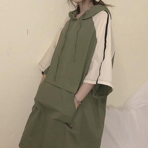 SPORTY SLEEVE LINES HOODED LONG SHIRT DRESS