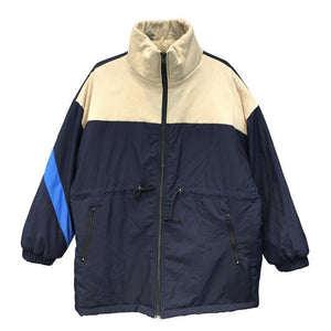 SPORTY WINDBREAKER RETRO STYLE ELASTIC WAIST LONG JACKET