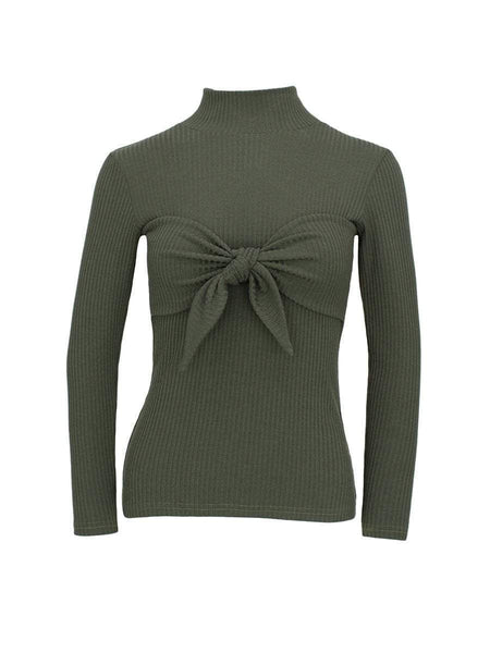 STAND COLLAR RIBBED KNOT BOW CHEST SLIM BLOUSE