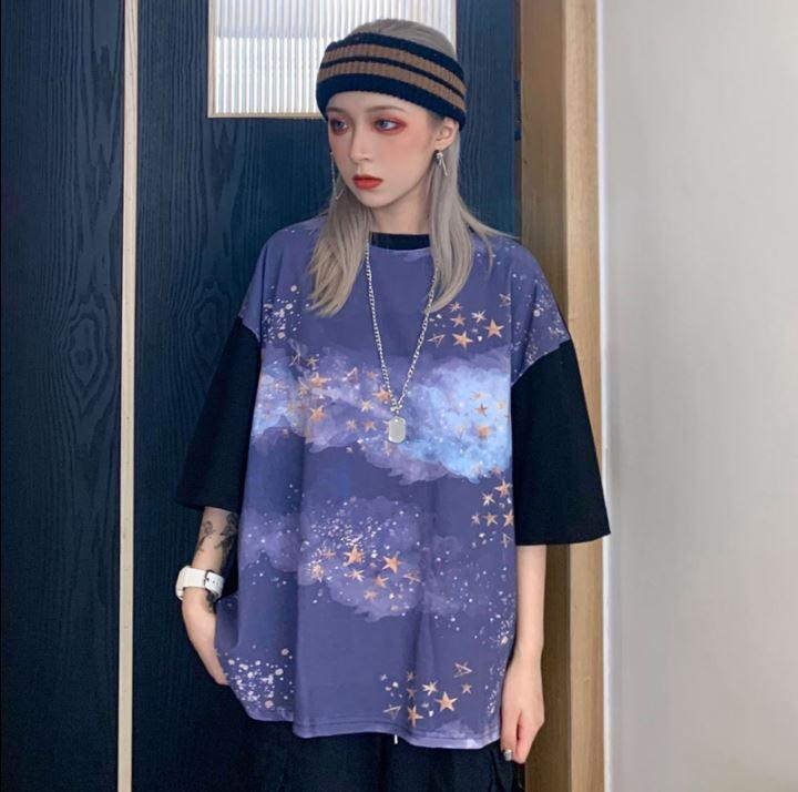 STARRY NIGHT PRINT CONTRAST SLEEVES LOOSE T-SHIRT