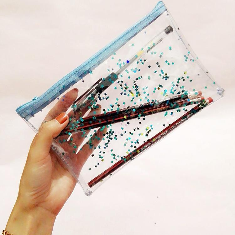 STARS GLITTER TRANSPARENT COSMETIC STATIONARY PURSE BAG