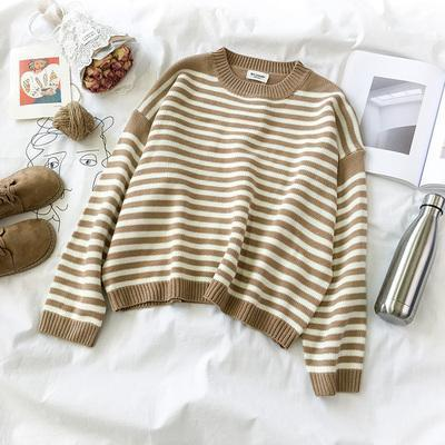 STRIPED ROUND NECK LOOSE CASUAL WARM SWEATER