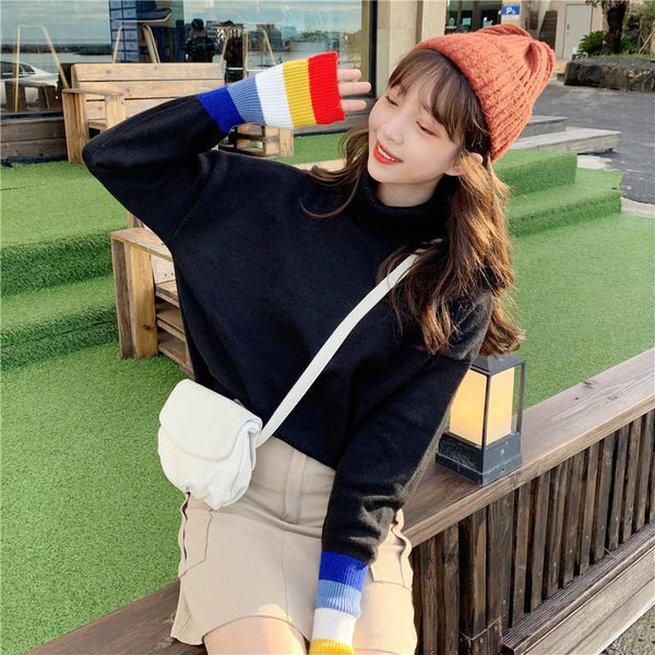 STRIPED TURTLE NECK RAINBOW CUFF KNITTED SWEATER