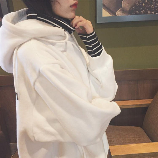 STRIPES UNDERNEATH BLACK WHITE LONG SLEEVE HOODIE