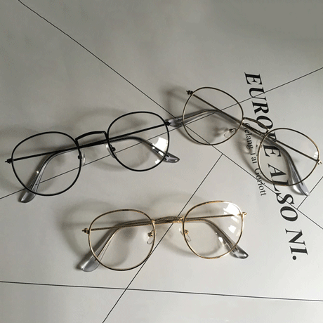 STRONG METALLIC CLEAR ROUND GLASSES