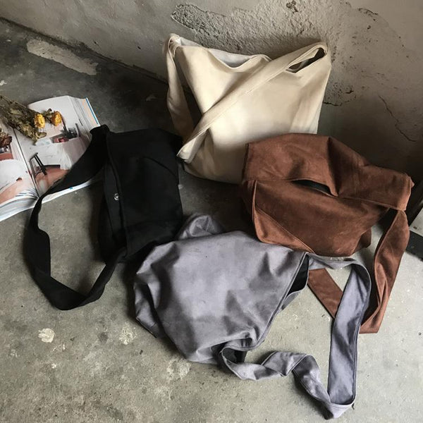 SUEDE SOFT SOLID COLORS ZIPPER SHOULDER BAG