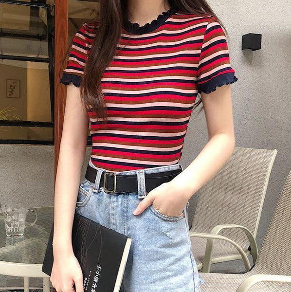 SUMMER CONTRAST STRIPES CURLY EDGE CROPPED TOP