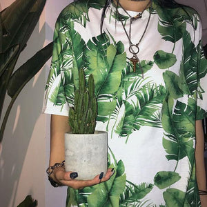 SUMMER PALM LEAVES PRINTED GREEN BLACK OVERSIZED T-SHIRT