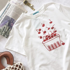 SUMMER RED CHERRY BOX FRESH BERRIES COTTON WHITE T-SHIRT
