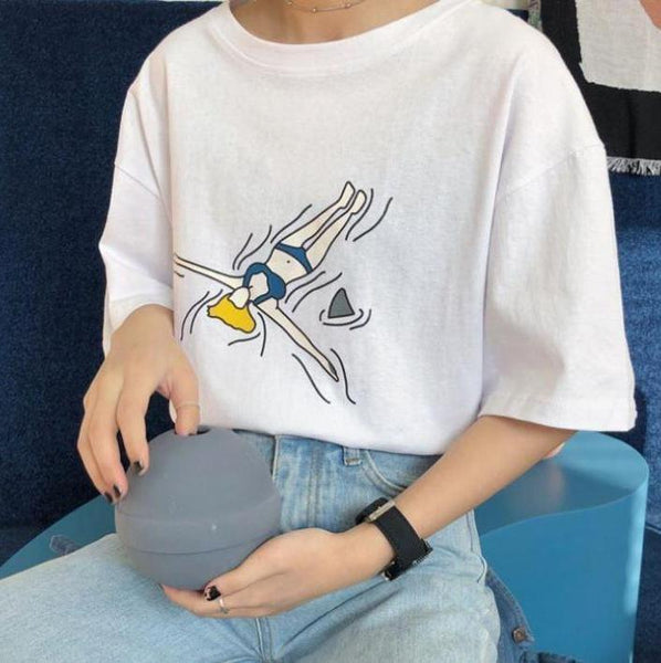 SUMMER VIBES PRINTED OVERSIZED COTTON T-SHIRT