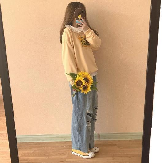 SUNFLOWERS PRINT TUMBLR AESTHETIC LOOSE SWEATSHIRT
