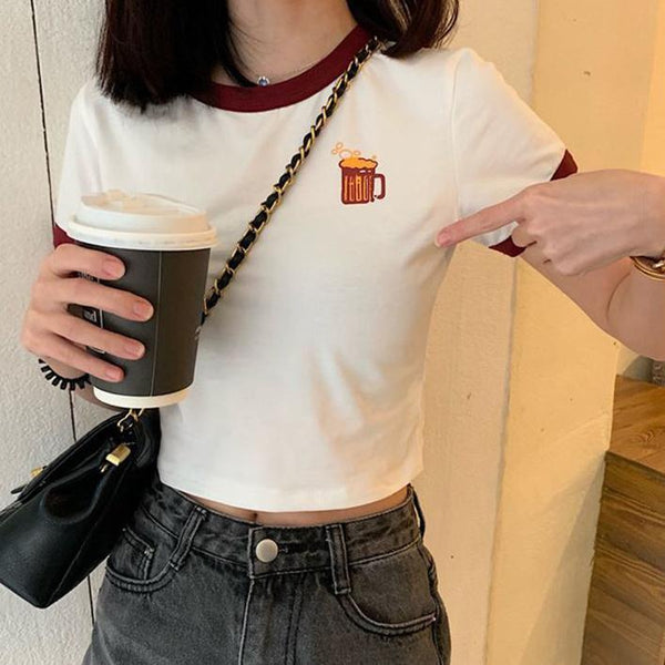 SWEET DRINKS EMBROIDERY PASTEL COLORS CROPPED TOP