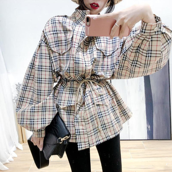 TARTAN PLAID BISHOP SLEEVE SHORT TRENCH COAT