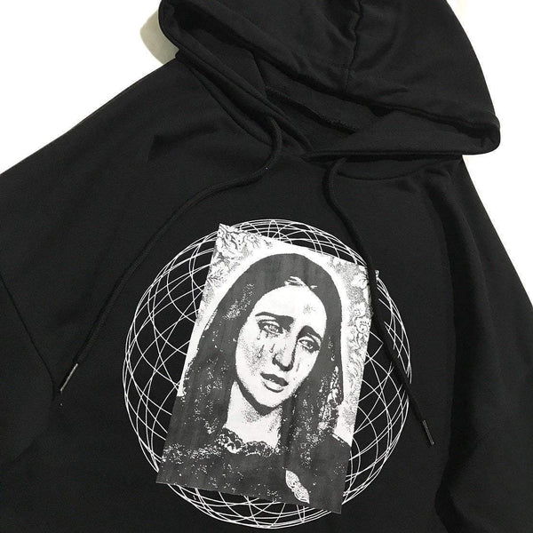 THE VIRGIN MARY PATTERN LOOSE BLACK HOODED SWEATSHIRT