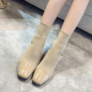 THICK HEEL ELASTIC KNIT SOCK SQUARE TOE BOOTS