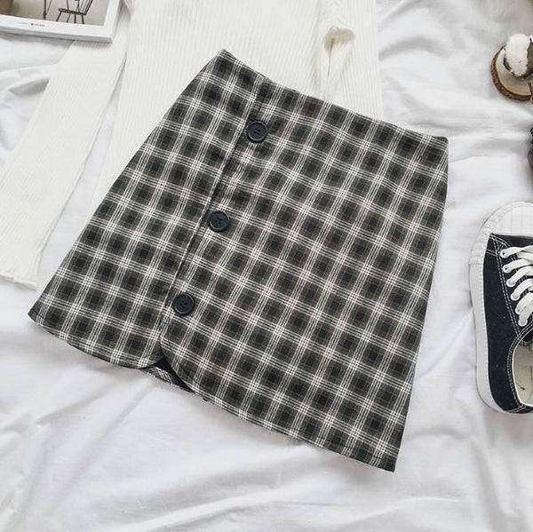 THICK PLAID SIDE BUTTONS BROWN BLACK SKIRT