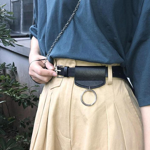 THIN LEATHER BELT METALLIC RING WAIST BAG