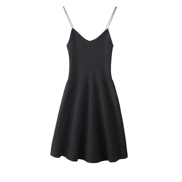 THIN STRAPS SLEEVELESS BASIC SLIM CHEST MINIMAL DRESS