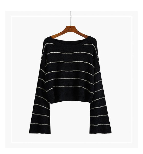 THIN STRIPES TEENAGE FASHION KNIT CROPPED SWEATER