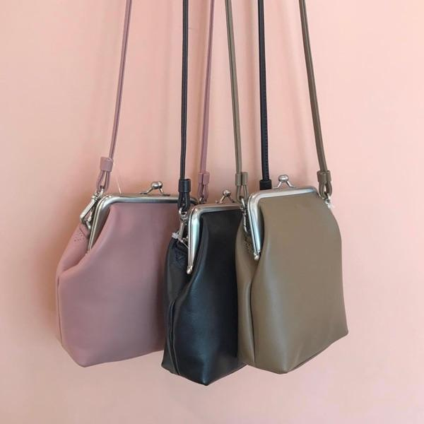 THREE COLORS LEATHER MINIMAL SHOULDER PURSE BAG