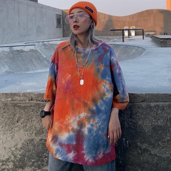 TIE DYE COLORFUL ROUND NECK OVERSIZED T-SHIRT