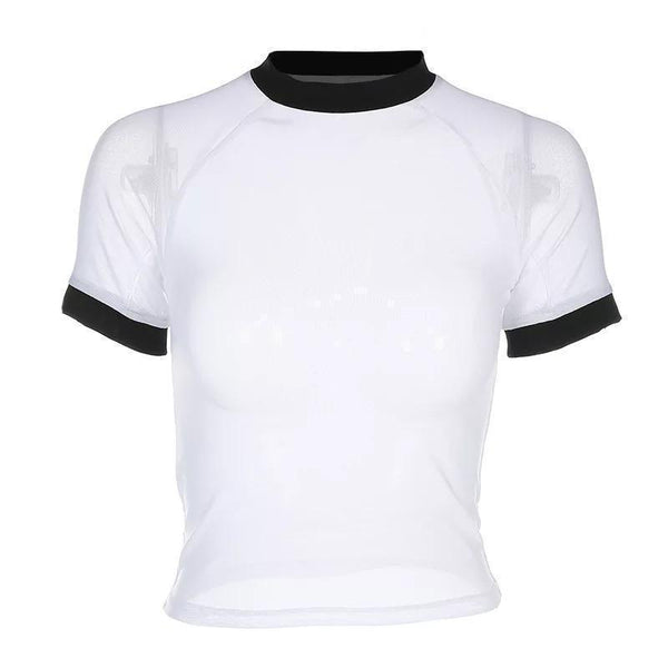 TRANSLUCENT WHITE BLACK COLLAR SLEEVES EDGES T-SHIRT