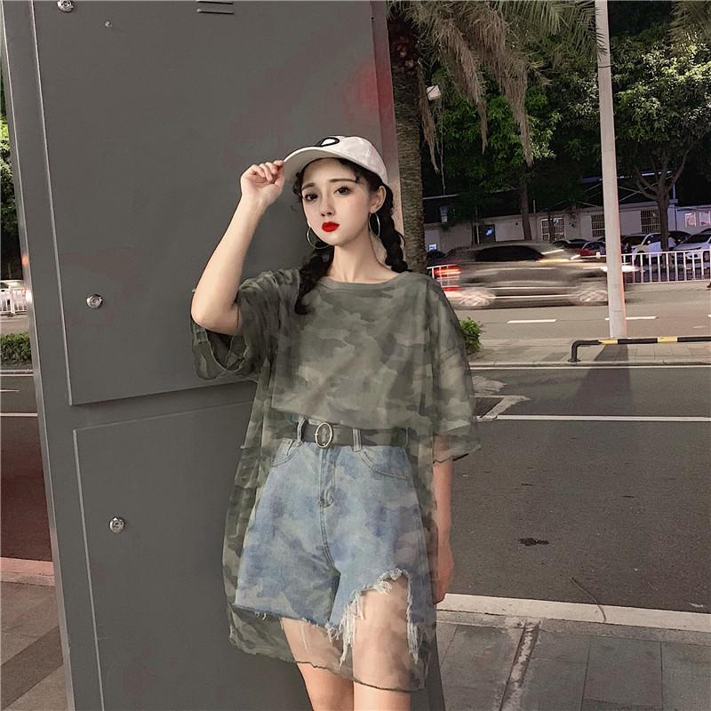 TRANSPARENT CAMOUFLAGE PATTERN OVERSIZED LONG T-SHIRT