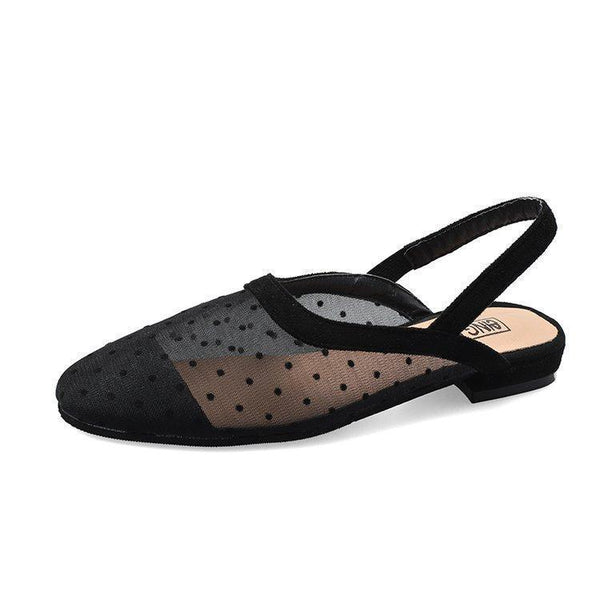 TRANSPARENT OPEN HEEL BLACK POLKA DOT SANDALS