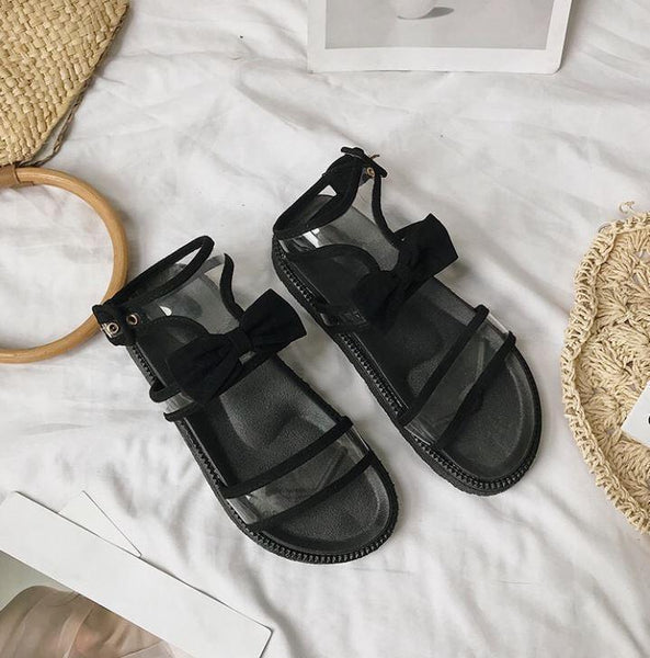 TRANSPARENT STRAPS BLACK BOW SUMMER SANDALS