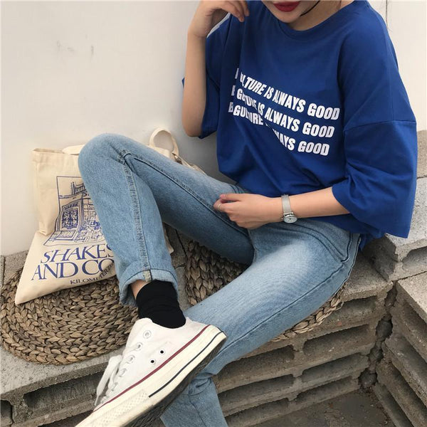 TRENDY LETTERS PRINT BLUE LOOSE T-SHIRT