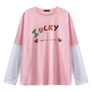 TUMBLR RAINBOW LUCKY PRINT FAKE TWO PIECE T-SHIRT