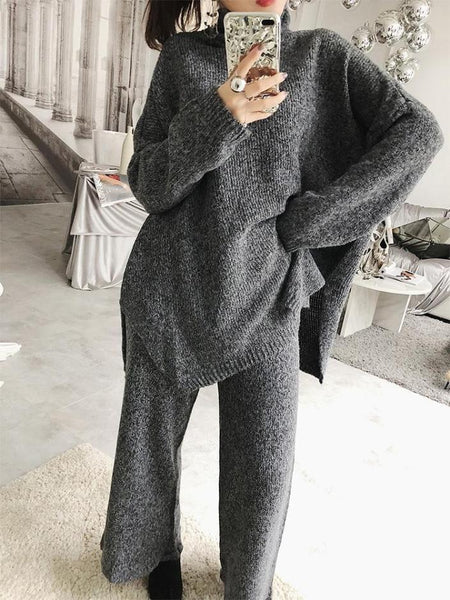 TURTLE NECK HIGH COLLAR KNITTED SWEATER + PANTS SET