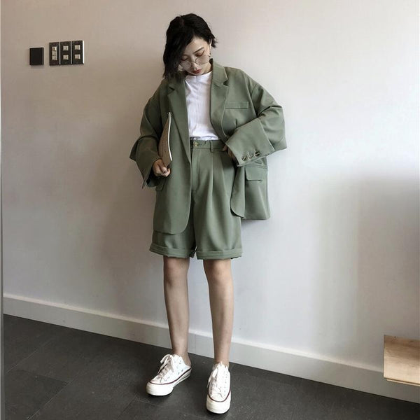 TWO PIECE JACKET+SHORTS LOOSE COSTUME SET