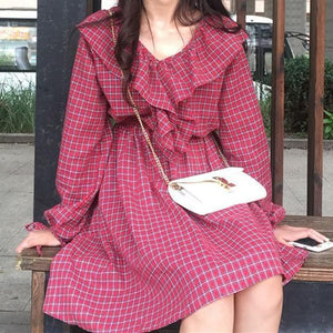 V NECK CUT PLAID RED GREEN PLAID ABOVE KNEE SPRING SUMMER DRESS