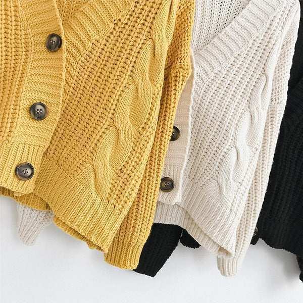 V-NECK KNITTED BIG BUTTONS CROPPED CARDIGAN