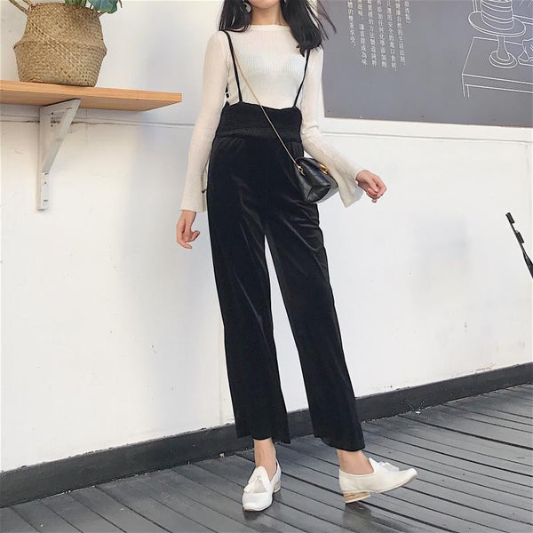 VELVET SHINY LONG JUMPSUIT STRAPPY VOLUME PANTS