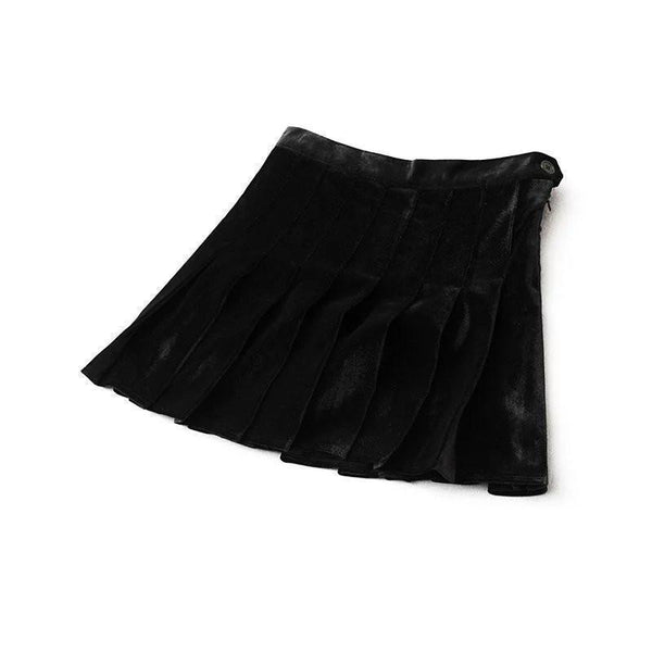VELVET SHINY SOFT PLEATED SKIRT