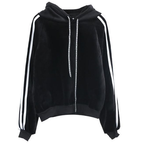 VELVET WARM SOFT BLACK KHAKI SIDE SPORT LINES HOODIE