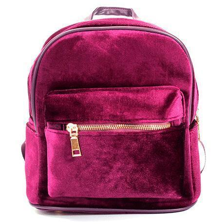 VELVET ZIPPER BACKPACK