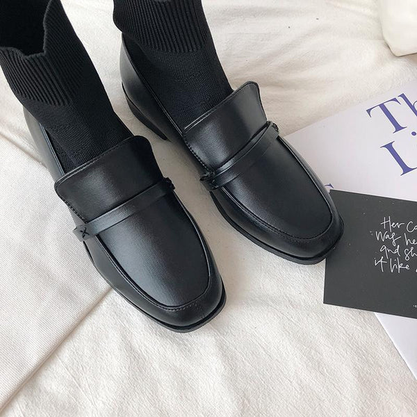 VINTAGE AESTHETIC GIRL BLACK MATTE LOAFERS BOOTS
