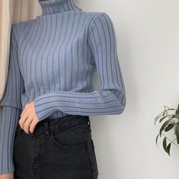 VINTAGE AESTHETIC HIGH COLLAR SLIM RIBBED JUMPER