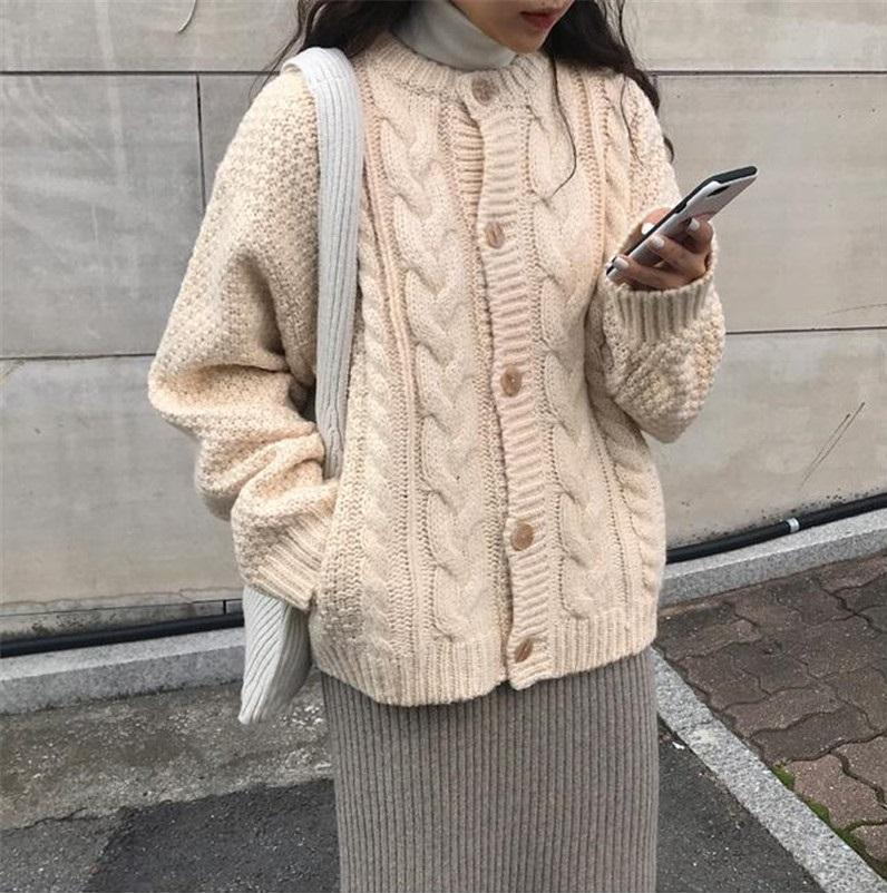 VINTAGE AESTHETIC KNIT BRAIDS WARM CARDIGAN SWEATER