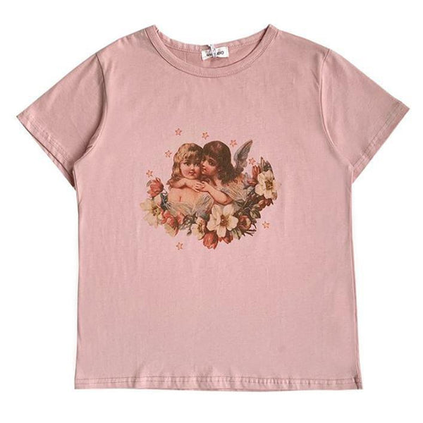 VINTAGE ANGELS PRINTED PINK ROUND NECK SLIM T-SHIRT