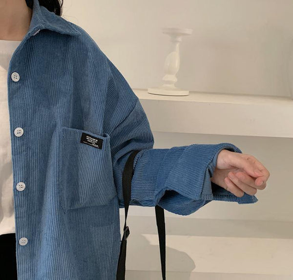 VINTAGE CORDUROY POCKET OVERSIZED SHIRT