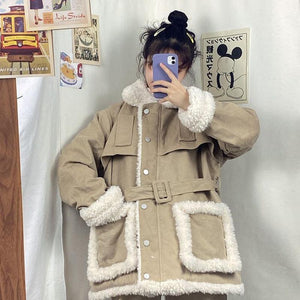 VINTAGE FAUX FUR PADDED WAIST BELT LOOSE JACKET